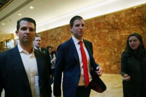 Camera icon Spencer Platt / Getty Images Donald Trump's sons Donald Trump Jr. (left) and Eric Trump walk in Trump Tower on Monday. Trump is in the process of choosing his cabinet.