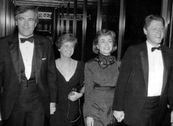 Vince Foster, left, is seen in this Oct. 12, 1988 photo with his wife and then Gov. Bill and Hillary Clinton. (AP Photo/Arkansas Democrat Gazette)