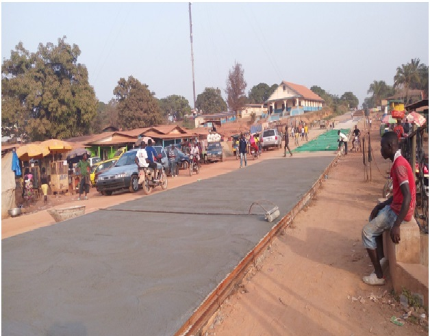 Paved Main Street of Gbarnga, from Collins Street Junction to Old Ganta Parking