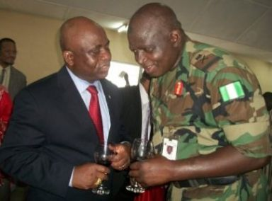 FLASH BACK : Major General, Suraj Alao Abdurrahman(L) during an interaction with Liberia's Defense