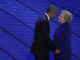 PHILADELPHIA, PA - JULY 27:  US President Barack Obama and Democratic Presidential nominee Hillary Clinton embrace on the third day of the Democratic National Convention at the Wells Fargo Center, July 27, 2016 in Philadelphia, Pennsylvania. Democratic presidential candidate Hillary Clinton received the number of votes needed to secure the party's nomination. An estimated 50,000 people are expected in Philadelphia, including hundreds of protesters and members of the media. The four-day Democratic National Convention kicked off July 25.  (Photo by Alex Wong/Getty Images)