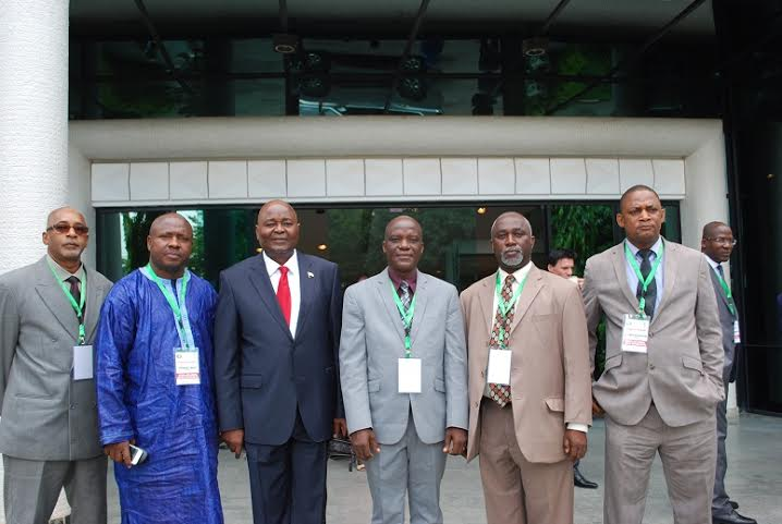 A group photo of the Liberian Delegation including Amb. Conteh (3rd from left)