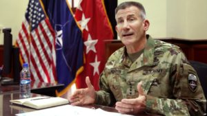 Head of NATO and U.S. forces in Afghanistan, U.S. Army Gen. John W. Nicholson, speak during an interview, in Kabul, July 27, 2016. Nicholson's recent comments concerning Russian, Iran and Taliban has prompted a promise of an investigation by the Afghan Senate.