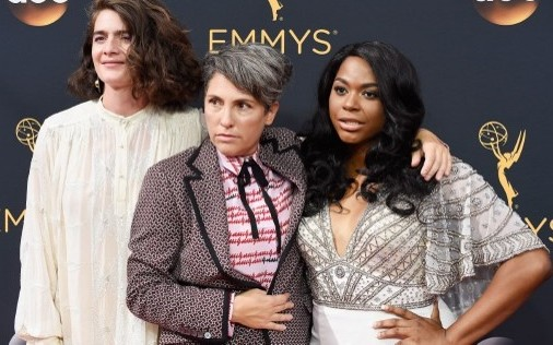 Actress Gaby Hoffmann (left), writer/director Jill Soloway (center) and actress Alexandra Grey (right) attend the 68th Annual Primetime Emmy Awards on in Los Angeles, California, on September 18, 2016. (Frazer Harrison/Getty Images/AFP)