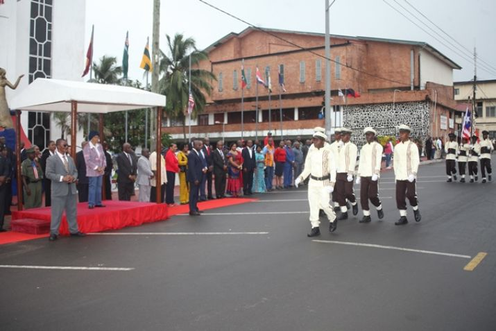 Liberian Leader Taking Pass-in-Review  from the participating schools