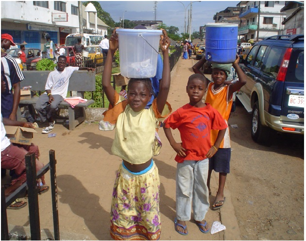 Kids selling in the streets of Monrovia