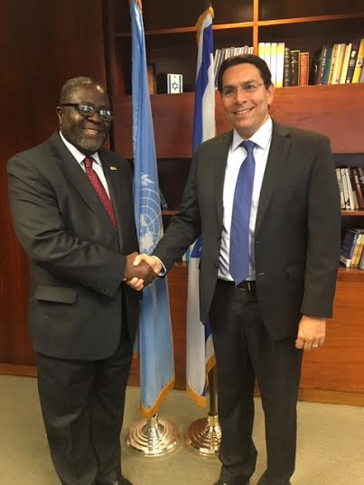 Liberia's Permanent Representative to the United Nations, Ambassador Lewis G. Brown II in a handshakes with his Israeli Counterpart, the Permanent Representative of Israel to the United Nations, Ambassador Danny Danon