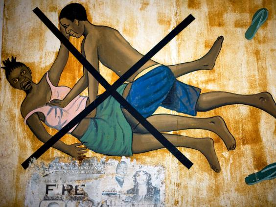 A poster in a market in Monrovia during a 2009 anti-rape campaign in Liberia (AFP/Getty Images)