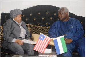 Presidents Sirleaf and Koroma of Liberia and Sierra Leone, respectively