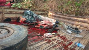 One of the victims lying in the pool of blood