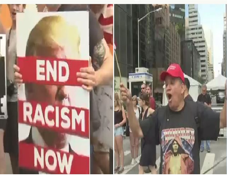 One day before President Trump's expected visit to his city home rallies supporting and denouncing him gathered in Midtown on Sunday