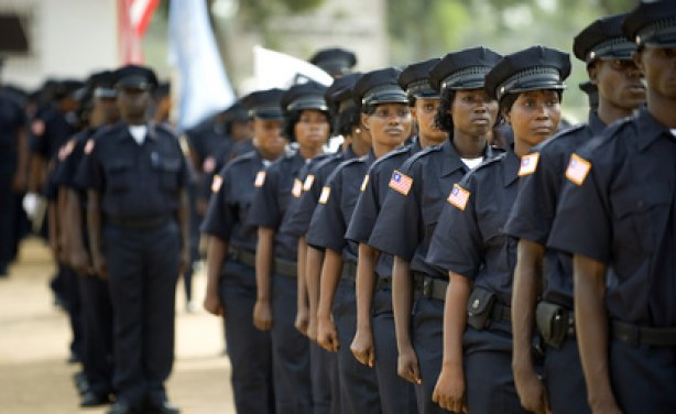 Men and women of the Liberia National Police