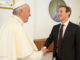 Pope Francis shakes hands with Facebook CEO Mark Zuckerberg during a meeting at the Vatican August 29, 2016. Osservatore Romano/Handout via Reuters ATTENTION EDITORS - THIS IMAGE WAS PROVIDED BY A THIRD PARTY. EDITORIAL USE ONLY. NO RESALES. NO ARCHIVE. - RTX2NGFH