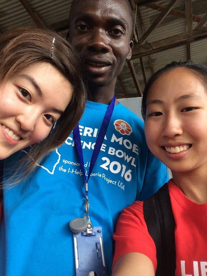 The late Quayeson with two of the Hunter College High School students during their last visit to Liberia to conduct Science workshops and Science Bowl Competition