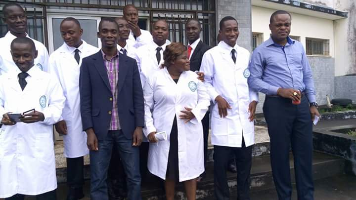 With students of the University of Liberia Medical College