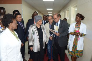 President Sirleaf being briefed by Eye Doctors upon arrival at the Eye Center in the JFK compound. Photo Credit: Executive Mansion