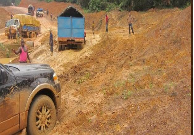 One of the damaged roads in rural Liberia