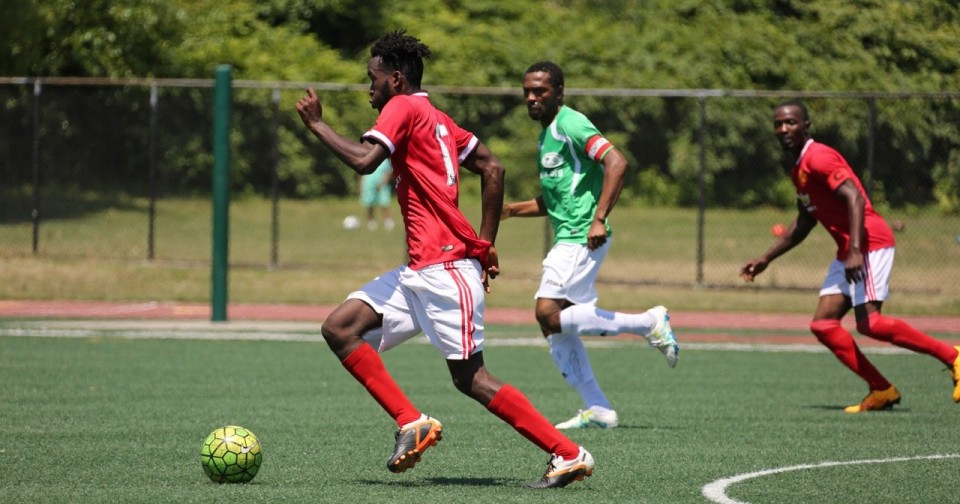 Sierra Leone Red (New Jersey) vs. Sierra Leone Green (New York) in the fourth annual Liberia's Independence Soccer Tournament, held at Cpl. Thompson Park in West Brighton. July 23, 2016. (Staten Island Advance/Derek Alvez) - alvez@siadvance.com