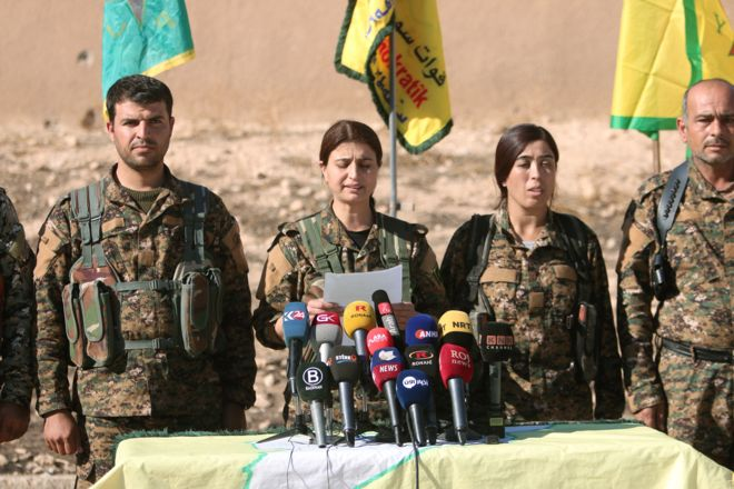 Reuters Image caption Commanders from the rebel forces warned civilians to leave militant-occupied areas