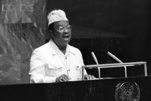 """26 Sep 1979 --- Original caption: 9/26/1979-New York, NY: United Nations. President William R. Tolbert Jr., of Liberia, addressing a session of the 34th U. N. General Assembly here 9/26, accuses South Africa of continuing """"delaying tactics"""" in the negotiations for U. N.- supervised free elections in Namibia and urged the Security Council to impose mandatory sanctions against Pretoria. --- Image by © Bettmann/CORBIS"""