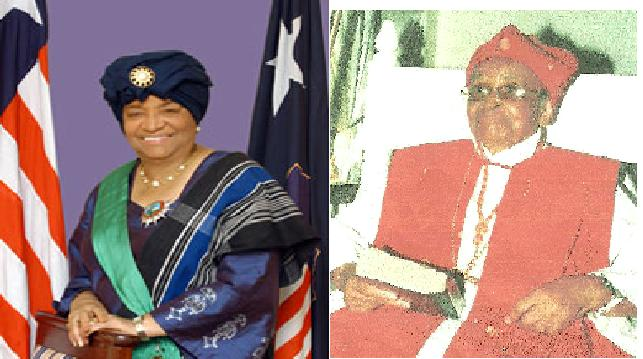 L/R: President Ellen Johnson Sirleaf and Bishop Mai Roberts