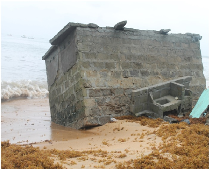 EU Sanitation Project in White Flowers Community, West Point overtaken by sea erosion