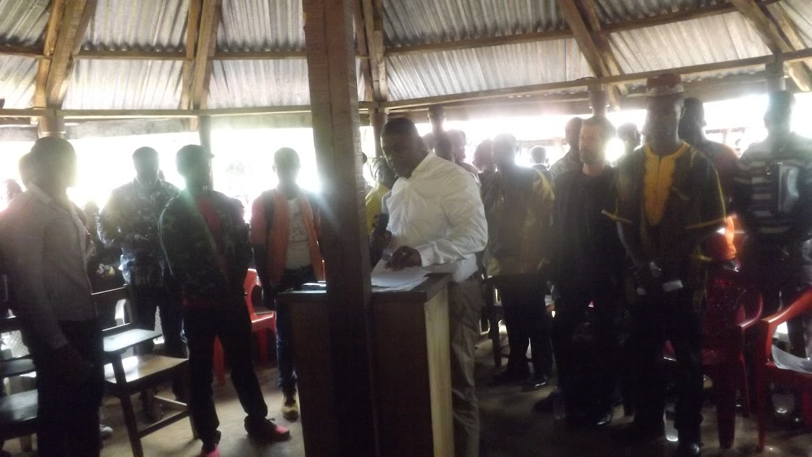 The United People's Party political leader addressing SIM members on the main campus of the University of Liberia