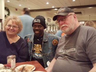 Philip E.P. Woods, II of Liberia in photo with Mrs. Carol Umbenhauer State Secretary/Treasurer/Office Manager and her husband, State Lobbyist Charles Umbenhauer, 2016
