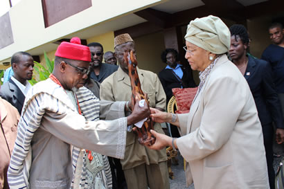 FLASH BACK: Liberia Traditional Chief Zanzan Kawa Presenting a gift to President Sirleaf on her 74th Birthday - 29th October 2012