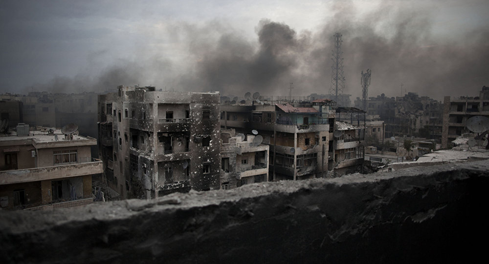 Smoke rises over Saif Al Dawla district, in Aleppo, Syria