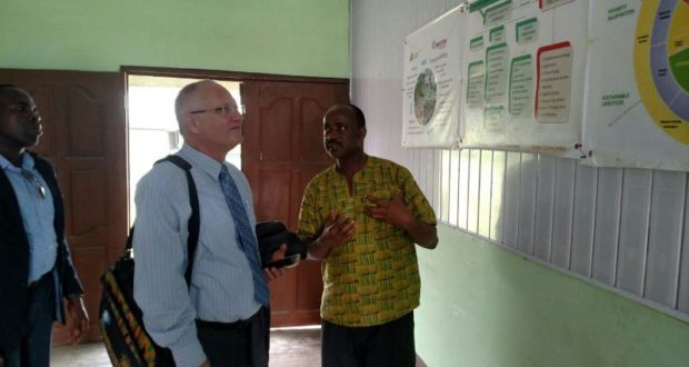 B-Bovid CEO, Issa Ouedraogo, shows the Israeli Ambassador to Ghana and Liberia, Ami Mehl