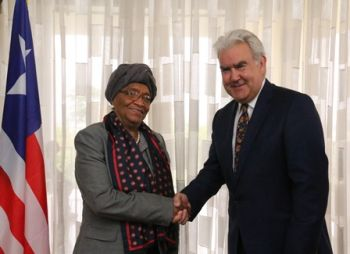 President Sirleaf receives The Power of Nutrition CEO, Martin Short. Photo Credit: EXECUTIVE MANSION