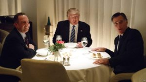 VOA News File: President-elect Donald Trump, center, eats dinner with Mitt Romney, right, and Trump Chief of Staff Reince Priebus at Jean-Georges restaurant, Nov. 29, 2016.