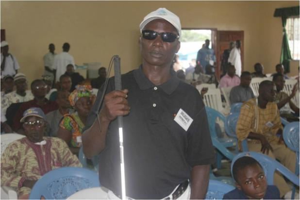 "Flash Back: A Disabled Community Representative George Flomo at one of the consultative meetings held in 2013 opting for ""inclusive"" participation."