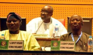 PIC 9. FROM LEFT: 1ST DEPUTY SPEAKER, ECOWAS PARLIAMENT, YUSUF LASUN; SPEAKER, ECOWAS PARLIAMENT, MOUSTAPHA CISSE'LO AND 3RD DEPUTY SPEAKER, ECOWAS PARLIAMENT, JEFFERSON KANMOH  DURING A SESSION OF ECOWAS PARLIAMENT IN ABUJA ON SATURDAY (6/2/16). 0738/06/02/2016/HB/ICE/NAN