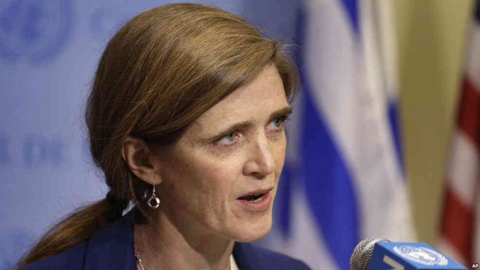 FILE - Samantha Power, U.S. ambassador to the U.N.
