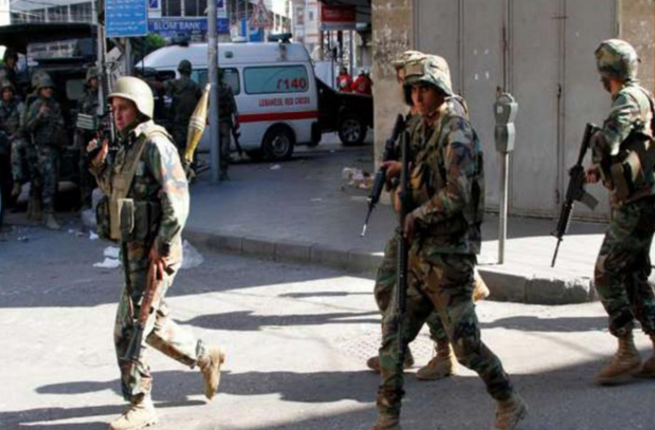 The Lebanese army is seen on patrol in the border town of Arsal. (File photo)