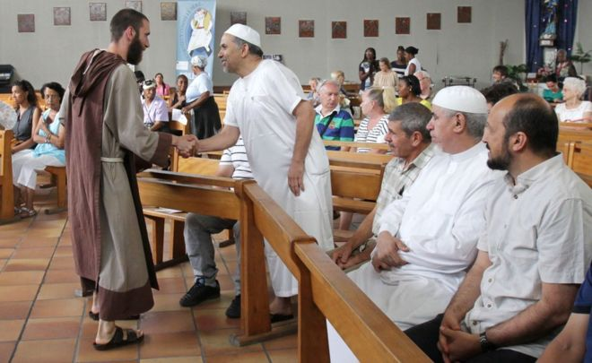 A Catholic monk welcomed Muslim worshipers at a church in Nice