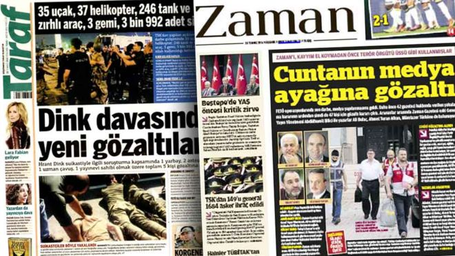 Image caption The Turkish government has closed dozens of newspapers
