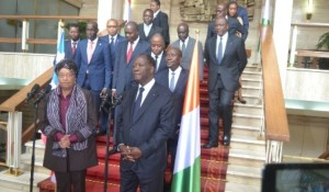 Pres. Sirleaf and Pres. Quattara at a joint Press stake-out at the Presidential Palace (1)