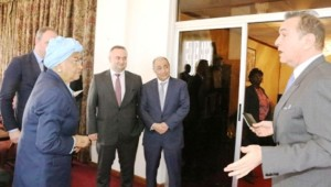 President Sirleaf in a brief chat with Mehmet N Gunal