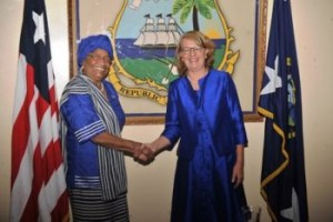 President Sirleaf shakes hands with the new Swedish Ambassador to Liberia, H.E. Ms. Lena Nordstr_m following the presentation of her Letters of Credence on Monday, October 19, 2015