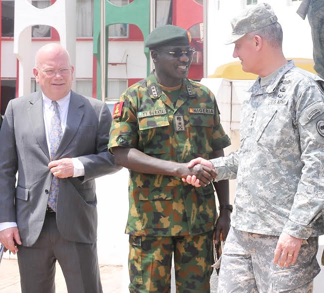 PIC.23. FROM LEFT: U.S AMBASSADOR TO NIGERIA, AMB. JAMES ENTWISTLE; CHIEF OF AMRY STAFF, LT.-GEN. TUKUR BURATAI AND COMMANDER, US AFRICOM. GEN. DAVID RODRIGUEZ, AT THE INAUGURATION OF UNITED STATES OF AMERICA TRAINING ASSISTANCE TO SELECTED UNITS OF THE NIGERIAN ARMY, IN JAJI KADUNA ON WEDNESDAY (17/2/16). 0985/17/2/2016/SP/HB/NAN