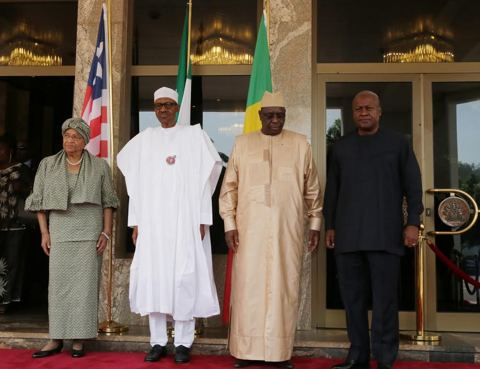 (Left to Right) Presidents Sirleaf, Buhari & Sall and right is former Pres. Mahama