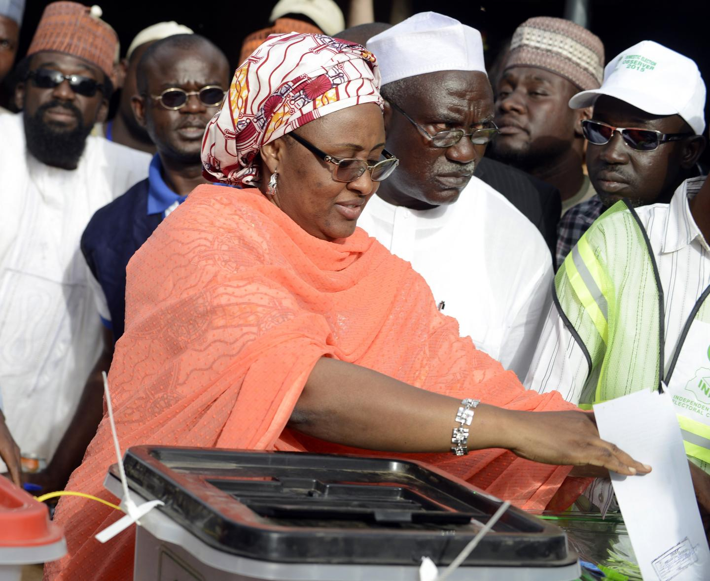 Aisha Buhari casts her ballot at a polling station in Daura, Katsina State in northern Nigeria, March 28, 2015, in an election won by her husband Muhammadu Buhari. The First Lady has been accused of corruption by an opposition governor and is reportedly taking legal action