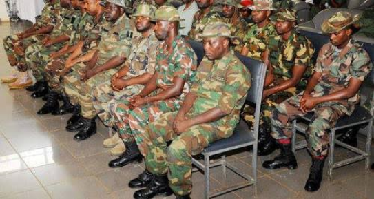 Lineup of some members of the Nigerian Armed Forces