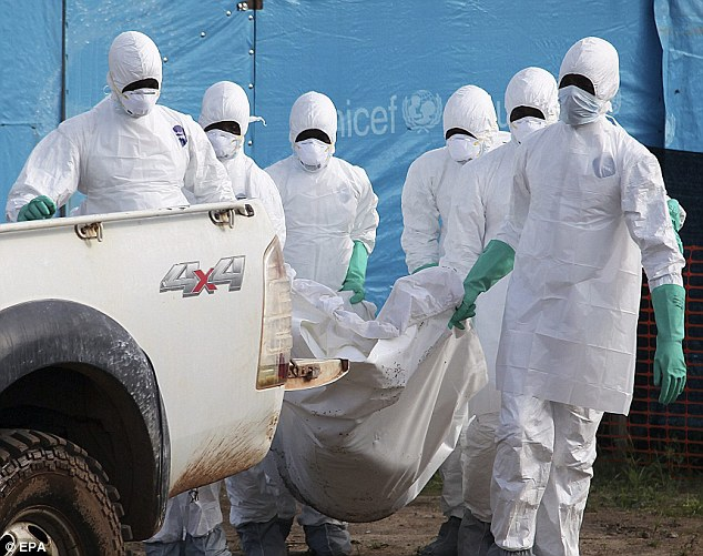 Liberian health workers in protective clothes bury a woman who died of the Ebola in Foya – Daily Mail UK Online