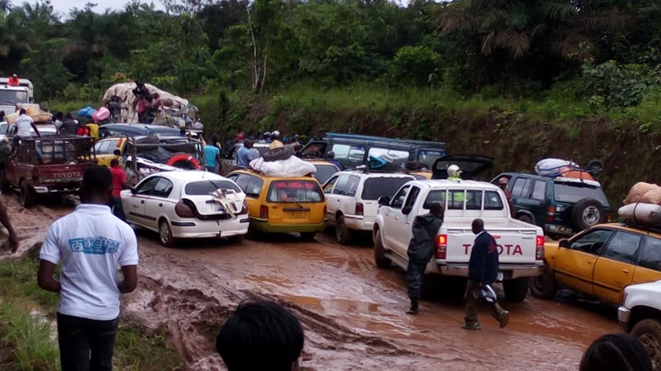 Another scene of the deplorable road condition on the Monrovia/Bomi highway
