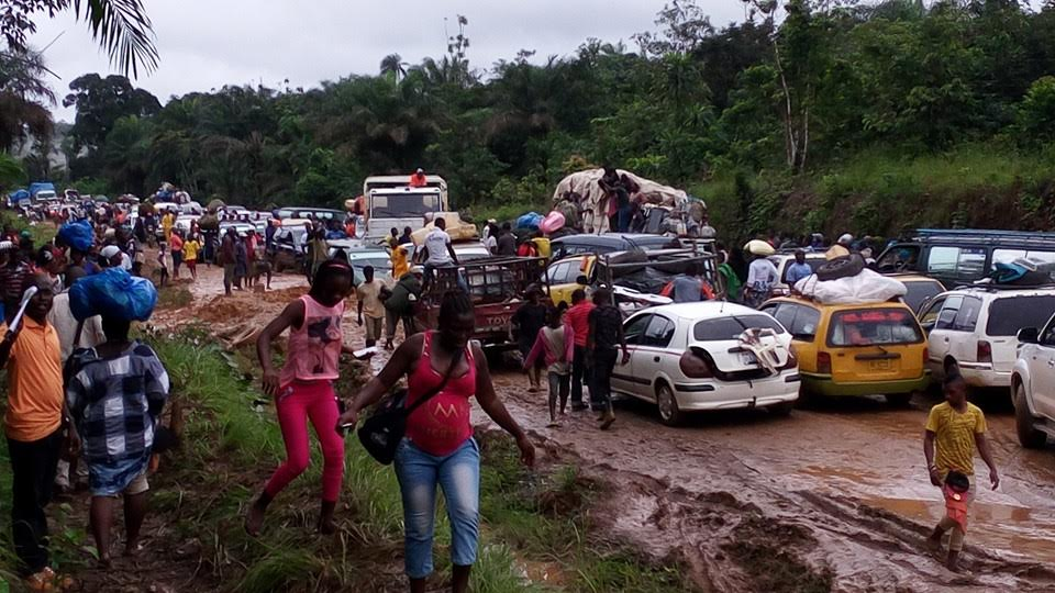 The deplorable condition of the Monrovia/Bomi highway as commuters stranded
