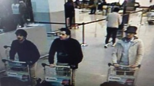 "Three explosions ripped through the Belgian capital of Brussels on Tuesday, March 22, 2016 killing dozens of people and wounding over 170 more, according to Belgian media. This is a picture released by Belgian Police of suspects in the Belgium attacks. IT SAYS : ""Wanted #TERRORISM Who recognizes this man? http://tinyurl.com/zp4t4o5"""